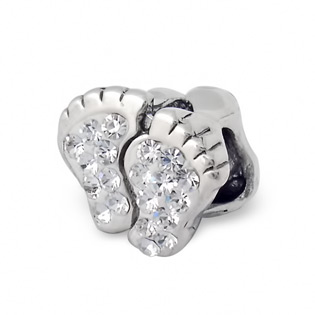 Sterling Silver Footprint Bead with Diamond CZ Cluster
