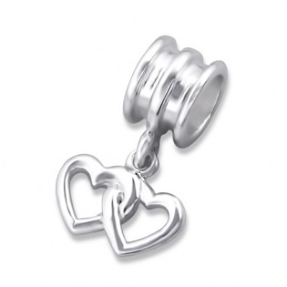 Silver Hanging Double Heart Plain Bead