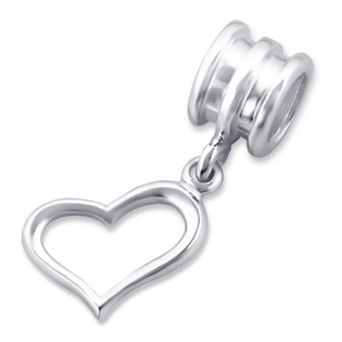 Silver Hanging Heart Plain Bead