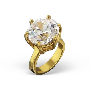 Gold Filled Diamond CZ Solitaire Ring Bead