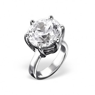 Sterling Silver Solitaire Ring with Genuine Diamond CZ Bead