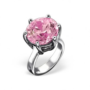Sterling Silver Solitaire Ring with Genuine Pink Topaz CZ Bead