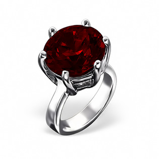 Sterling Silver Solitaire Ring with Genuine Garnet CZ Bead