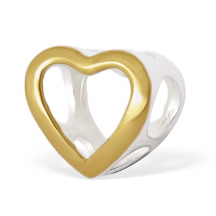 Silver and Gold Heart Bead