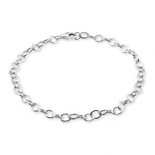 Silver Plain Charm Bracelet 4mm