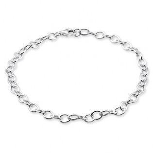 Silver Plain Charm Bracelet 21cm