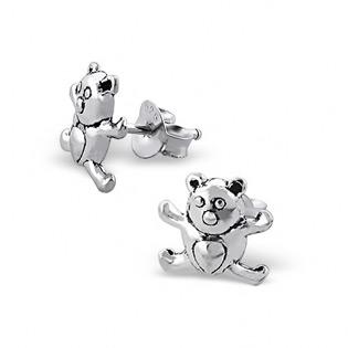 Silver Teddy Bear Plain Ear Studs