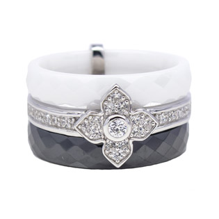 Black & White Ceramic and CZ Silver Ring