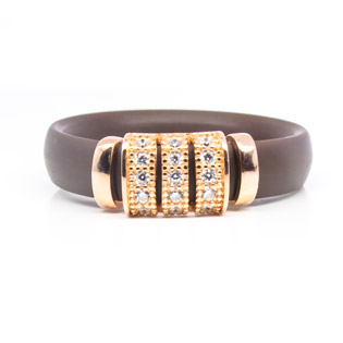 Brown Rubber Ring with Gold Plated Simulated Diamond Pave Silver