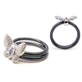Black Ceramic with Sterling Silver And Diamond CZ Butterfly