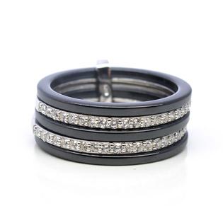 Black Ceramic And Cubic Zirconia Ring