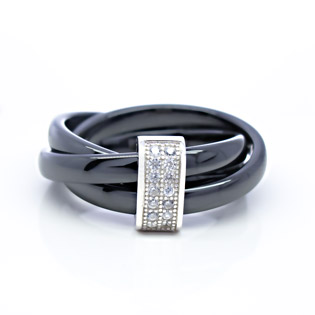 Black Ceramic Simulated Diamond Pave in SIlver Trinity Ring