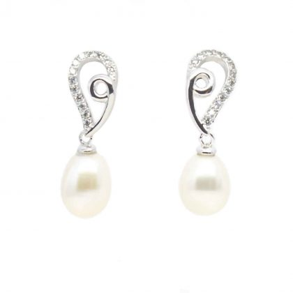 Pearl, Cubic Zirconia Earrings