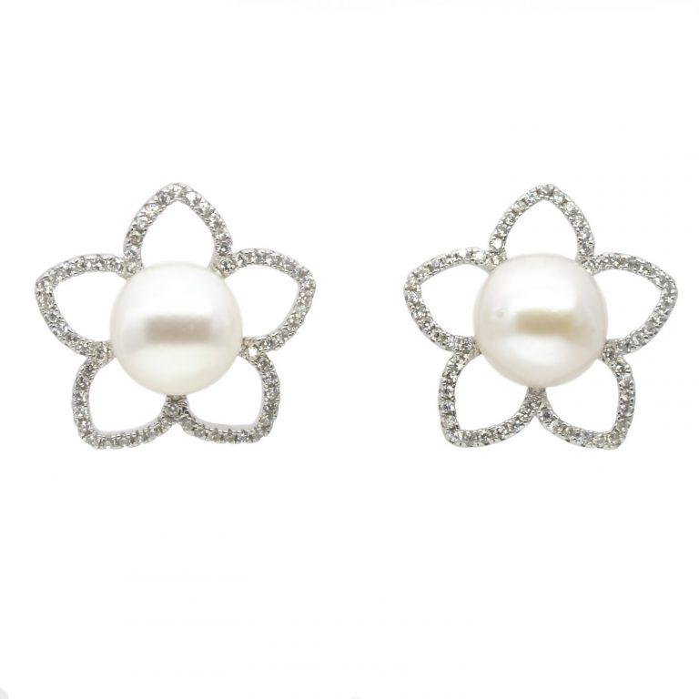 Pearl, Cubic Zirconia Earrings