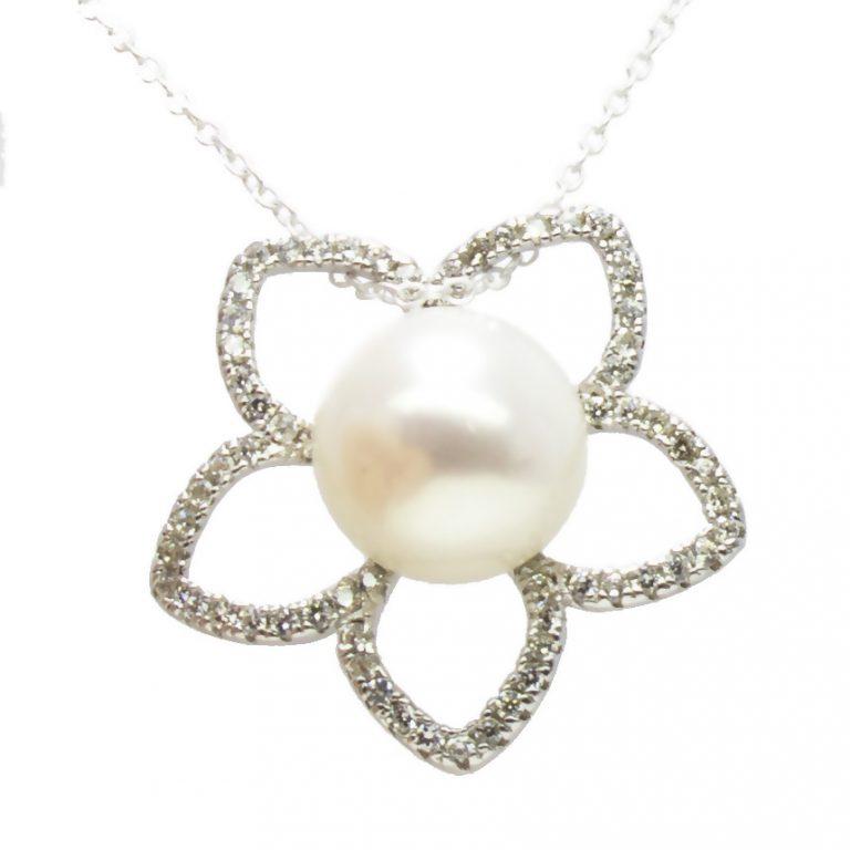 Pearl, Cubic Zirconia Pendant