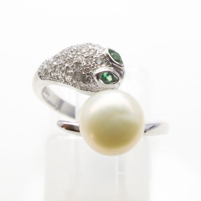 Pearl, Cubic Zirconia, Created Emerald Simulant Ring