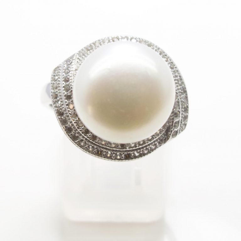 Pearl, Cubic Zirconia Ring