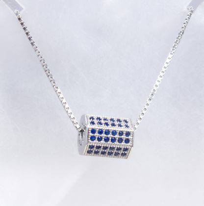 Sterling Silver Created Sapphire Necklace