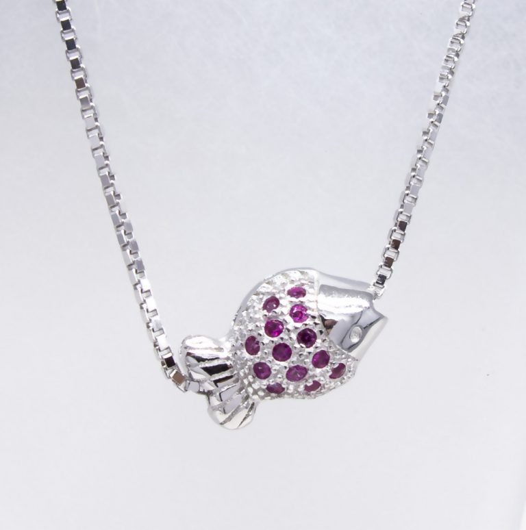 Sterling Silver Created Ruby Necklace
