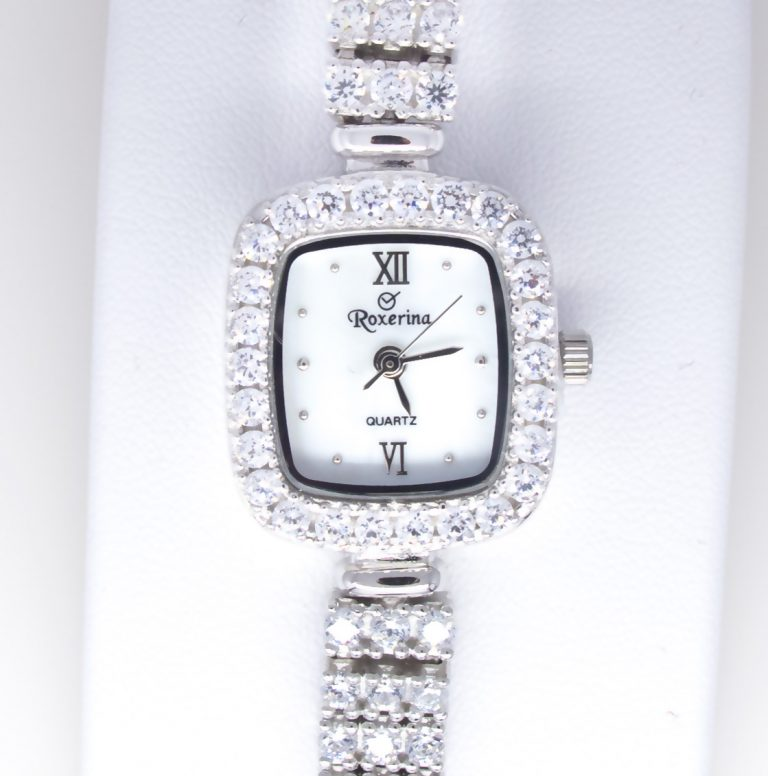 Sterling Silver Cubic Zirconia, Mother of pearl Watch