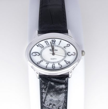 Sterling Silver Leather, Mother of pearl Watch