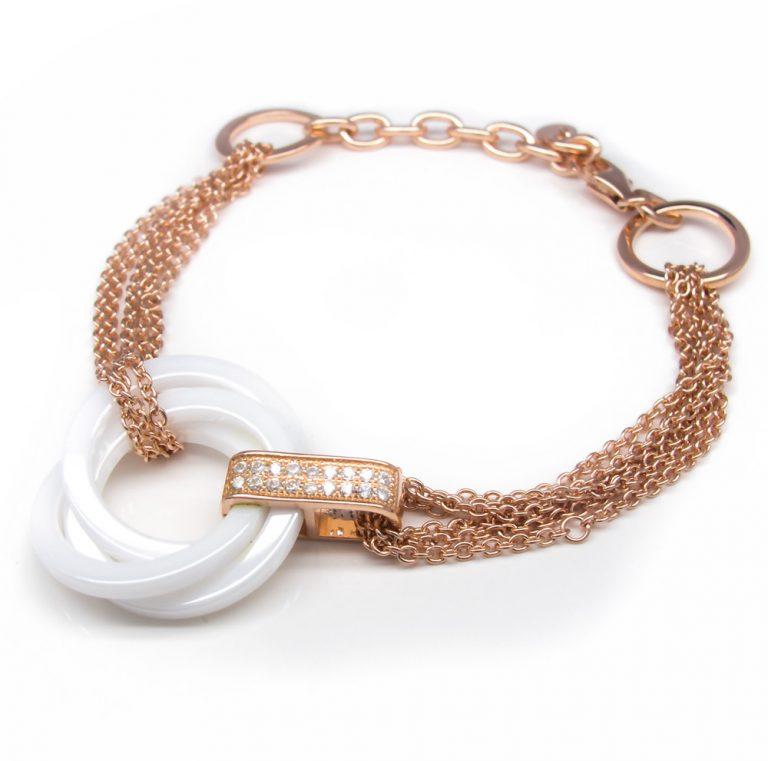 Sterling Silver Ceramics, Cubic zirconia Bracelet