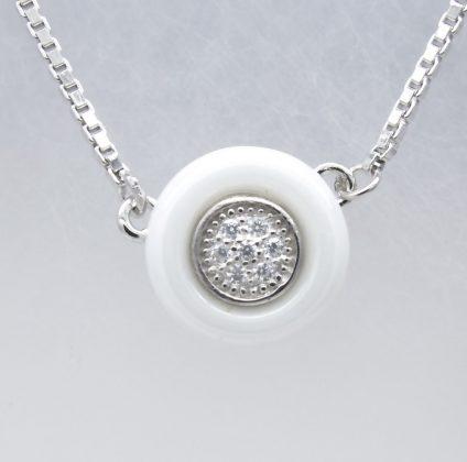 Sterling Silver Ceramics, Cubic Zirconia Necklace