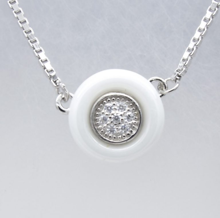Sterling Silver Ceramics, Cubic Zirconia Necklace