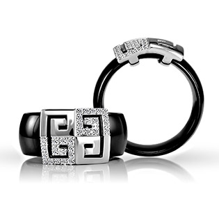 Ceramic and Sterling Silver Ring with Diamond CZ